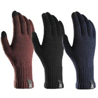 Nouveaux gants en tricot Hommes Femmes Écran tactile hiver Simple Couleur Solide Couleur Solide Gants de laine Unisexe Velvet Mitatens