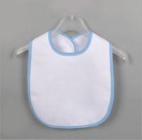 흰색 빈 신생아 버프 천 열 전달 DIY 인쇄 타액 티슈 아기 방수 턱받이 유아 타액 수건 아이들 먹이 Bibs E122107