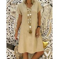 SAGACE 2019 여성 여름 스타일 Feminino Vestido T 셔츠 코튼 캐주얼 플러스 사이즈 숙녀 드레스 캐주얼 린넨 드레스 뜨거운 Sales1