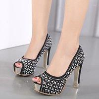 Crystal Peep Toe каблуки свадебные туфли женщин бусины скольжения на женщине насосы блеск-глиттер Riverts BrideMaid Super High каблуки платформы1