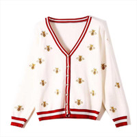 Nicemix Womens 스웨터 자수 가을 긴 소매 산업 꿀벌 대비 컬러 스트라이프 느슨한 니트 카디건 얇은