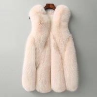 Zadorin nueva llegada larga de piel falsa chaleco mullido de la chaqueta más el tamaño de las mujeres delgado falso abrigos de piel de alta calidad de piel artificial GiletX1016