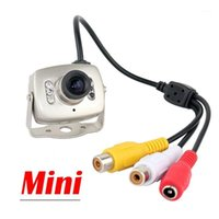 Telecamere Mini Metal Color Security Camera 6 LED Visione notturna a infrarossi Piccolo analogico 3,6 mm Lente Video Audio Surveillance Monitor Cam1
