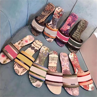 2020 слайд вышивкой хлопчатобумажные верхние тапочки женщины кожаные подошвы напечатанные сандалии на открытом воздухе Пляж флип флопы обуви многоцветный с коробкой