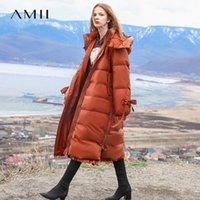 Amii minimalista encapuchada chaqueta con capucha mujer invierno causal remiendo sólido blanco pato abajo luz hembra largo parkas abrigo 118402231