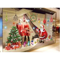 판매 3 세대 이동식 벽 스티커 만화 산타 클로스 크리스마스 상점 침실 장식 벽 스티커 AY226 201127