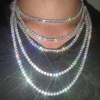 3 мм 4 мм 5 мм хип-хоп теннисные цепи ювелирные изделия мужские алмазные теннисные цепные ожерелье из 18 тыс. Настоящее золото / белые позолоченные цепные ожерелья цепи