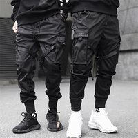 ANLICHIQUE EDEN RUBBONS HIP HOP CARGO PASSANTS HOMNES POCHE NOIR POCHE STREETWEAR HARAJUKU Techwear Pantalons Pantalons Harem Joggers Sweatpants 201114