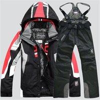 Yeni Erkekler Sıcak Snowboard Takım Elbise Erkekler Kış Kayak Takım Elbise Erkek Su Geçirmez Nefes Kar Ceket + Pantolon Kayak Setleri Set Snowboard 201116