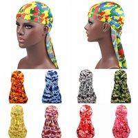 Moda Camo Hombre Silky Durags Turban Imprimir Unisex Seda Durag Durag Headwear Bandes Diadema Accesorios para el cabello Sombrero Pirate Hat Ondas Raps