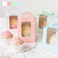 Fornecimento festa de aniversário do único queque Muffin caixas de bolo Caso Package Papel Com Limpar janela Armazenamento Food Snacks presente Containers 0 35zx F2