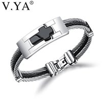 V.YA 3 Rows Wire Chain Cuff Cross Stainless Steel Men Bracelets Punk DIY Custom Engrave Man Jewelries Black Silver Color Bangles