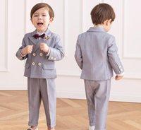 Clothing Sets Little Prince Flower Boys Jacket+Pants Bowtie 3pcs Wedding Suit Gentleman Baby Kids Birthday Dress Children Party Costume