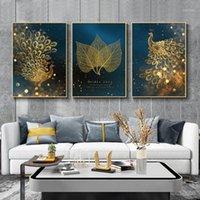 Art Golden Leaf peamings peintures murale 3 panneau toile modulaire Nordic Picture HD Imprimer affiches encadrées pour salon de salon Decor1