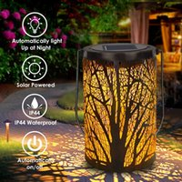 LED Solar Hollow Out Iron Art Lámpara Árbol Sombra Linterna Portátil PROYECCIÓN DE PROYECCIÓN LUZ DE LUZ EXTERIOR ABAJO A LUCHO APLAJO LUCES DE Decorativo