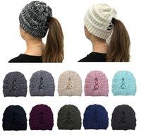 20 styles poneytail Criss Cross Casquettes avec label chapeaux tricoté hiver casquettes de ski ski beanie filles chapeaux chapeaux