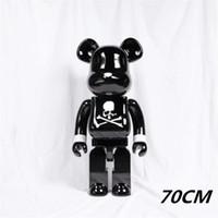 Hot 1000% 70 cm Bearbrick Evade Skull Skull Blanco y negro Oso figuras juguetes para coleccionistas ser @ rbrick arte trabajo modelo decoraciones niños regalo