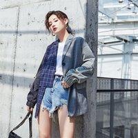[LANMREM] Sonbahar ve Kış Yeni Ürünler Moda Vintage Uzun Kollu Yaka Paneli Düzensiz Kol Ceket PA518 201112