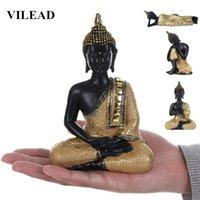 VILEAD 5 ESTILOS RESINA DE TAILANDIA Estatua de Buda Fengshui India Religioso Budismo Escultura Hindú Negro Buda figurines Decoración para el hogar T200703