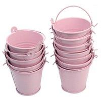 12pcs carino rosa mini secchio in metallo con cioccolata bombardarie di latta secchi di latta kg regalo scatola di caramelle box di nozze forniture diy decoration1