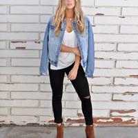 Kadınlar Baisc Denim Ceket İnce Mavi Jeans Coat Casual Uzun Kollu Vintage teslimi Aşağı Yaka Bayan Tek Breasted Ceket 2020