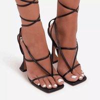 Dycly Nouveau Sexy Snake Print Sandale Sandales Sandales Femmes Lacets Haut de 8 cm High High High High Toe Sandales d'été Femmes Chaussures Taille 35-421