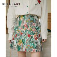 CHEERART Floral Mini Skirt Womens 2020 Green High Waist A Line Mini Autumn Skirt Aesthetic Korean Fashion Clothing