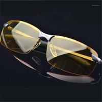 النظارات الشمسية sgyouwant الأزياء الاستقطاب للرؤية الليلية نظارات الرجال سيارة القيادة نظارات مكافحة وهج سبيكة الفضة إطار نظارات 1