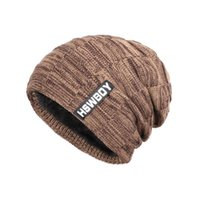 Erkekler Peluş Örme Kış Cap Sonbahar Casual Beanies Katı Renk Hip-hop Şapka Kalınlaşmak Skullies Kayak Cap