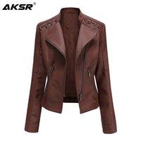 AKSR New Spring et Automne Femme Cuir Veste Vêtements Pour Femmes Mince Mince Mince Moto Moto Manteau Faux Cuir manteau Zippers 201030
