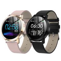 Reloj elegante CF18 1,22 pulgadas a prueba de agua IP67 Presión arterial monitor de ritmo cardíaco metal Starp múltiples modos Sport Band SmartWatch Mujeres