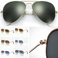 Classic Pilot Men Women Sunglasses Metal Frame Color and Gradient Glass lens 58mm 62mm .suitable beach shading, driving, fishing. with Accessories leather case