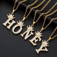 التاج A ~ z الحروف الأولية قلادة الهيب هوب كريستال الزركون 26 الأبجدية قلادة القلائد المرأة الذهب سلسلة خمر بيان مجوهرات 376 G2
