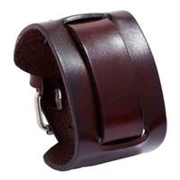 Простая мода винтажная широкая черная натуральная кожа регулируемая манжеты ремень очарование браслеты браслеты мужские украшения подарок