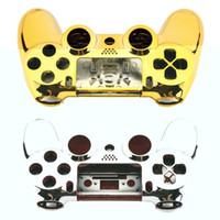 Полный корпус корпуса чехол Крышка кожи Кнопка набор с полными кнопками Мод Комплект замены для PlayStation 4 PS4 контроллер Gold Щепка