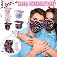 2021 Одноразовая маска Взрослые Мужчины Женщины Любители Сердце в форме С Днем Святого Валентина 95% Фильтрация Эффективность пылезащитные Профилактики Грипп Маски