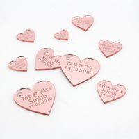 100 personalizada grabar Love Corazones de oro rosa / oro / plata Espejo / Madera fiesta de la boda Etiquetas Tabla piezas centrales de la decoración de los favores C0927