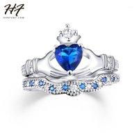 Anneaux de grappes en gros - Exquis d'amour design Couronne Hand Heart Clah-Duh Claddagh Bague Set Sliver Couleur Blue Cz Cristal pour Femmes R6161