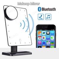 10x LED зеркало для макияжа Bluetooth Speaker Смарт музыкальный 20 Свет Сенсорный экран Регулируемое Тщеславие освещенное зеркало для макияжа Сабвуфер Таблица Китай