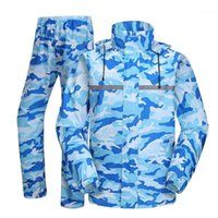 Nuevo al aire libre impermeable camuflaje impermeable lluvia para hombres y mujeres impermeable lluvia lluvia lluvia lluvia poncho abrigo pantalón traje 1 MQAJS