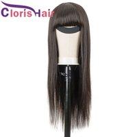 Peruca dos cabelos humanos longos com franja sem renda dianteira perucas para mulheres negras 150% Máquina completa Remy Natural Remy Head Spin