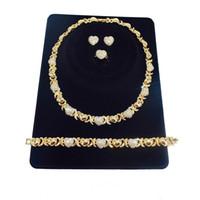 2 комплекта Лот африканских ювелирных изделий набор для женщин Ожерелья Серьги 14K Золотые ювелирные изделия для женщин Серьги свадебные украшения для женщин