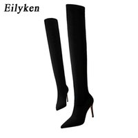 Hot Sale Eilyken Herbst-Winter-Glitter-Frauen-Schenkel-elegante dünne Fersen gefolgt über die Knie hohe Absätze Socken Stiefel Schuhe