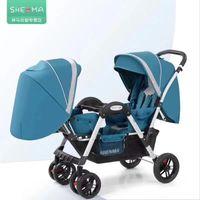 Poussettes # Twin Baby poussette Absorbeur à quatre roues Peut asseoir Réglage multi-gamme Double chariots à dolly pliable