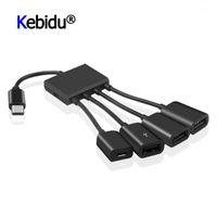 HUBS OTG 3/4 Порты Тип-С 3.1 Хаб Портативная мощность Зарядка Кабель Разъем Адаптер Тип C до 3 USB 2.0 Порт Micro USB1