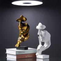 Accueil Décoration Accessoires Silence est des statues d'or pour la décoration Statue du visage humain Abstrait Sculpture African Décor Accueil T200624