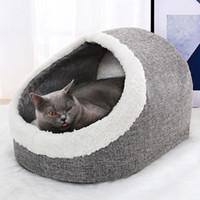Cama de mascotas lavable de invierno Cara de cueva de gato cálida Cesta de peluche con cojín almohada cama para perro gato suministros