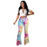 Women Tie Dye Tassel Jeans Mid Wiast Zipper Fiy Boot Cut Pants Ladies High Street Wear