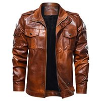 Corriendo chaquetas hombres chaqueta moda color puro cremallera soporte collar imitación abrigo de cuero tops vintage invierno con capucha piel forrada