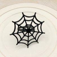 Metal Örümcek Web Napkins Tokalar Hayalet Festivali Cadılar Bayramı Peçete Yüzükler Dumb Siyah OPP Paketi ile Çeşitli Renk 3 8HWA J1